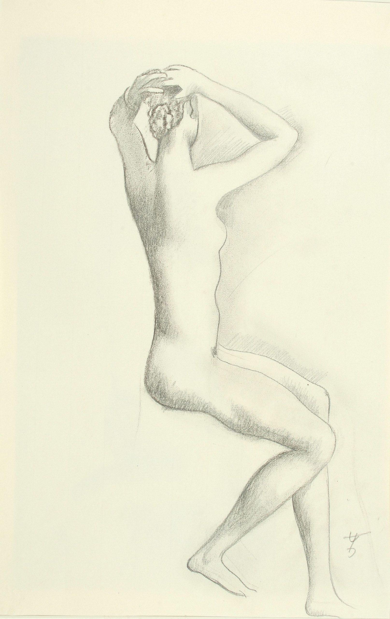 August Wilhelm Dressler-Sitting nude grasping the bun