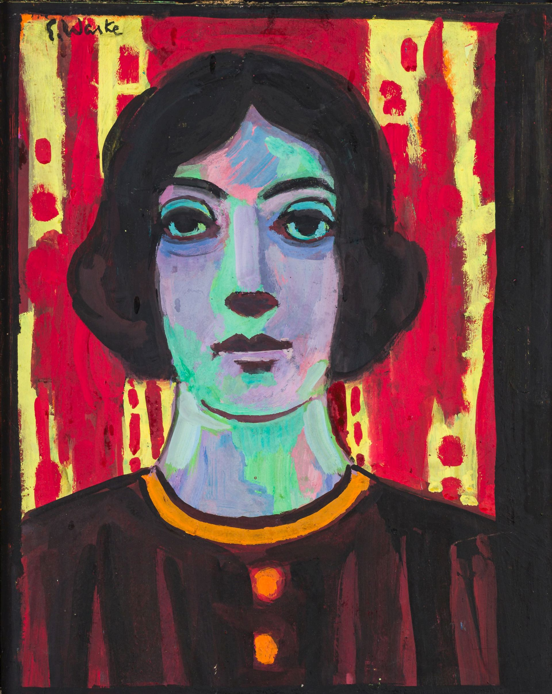 Erich Waske-Portrait of a Woman against a red Background