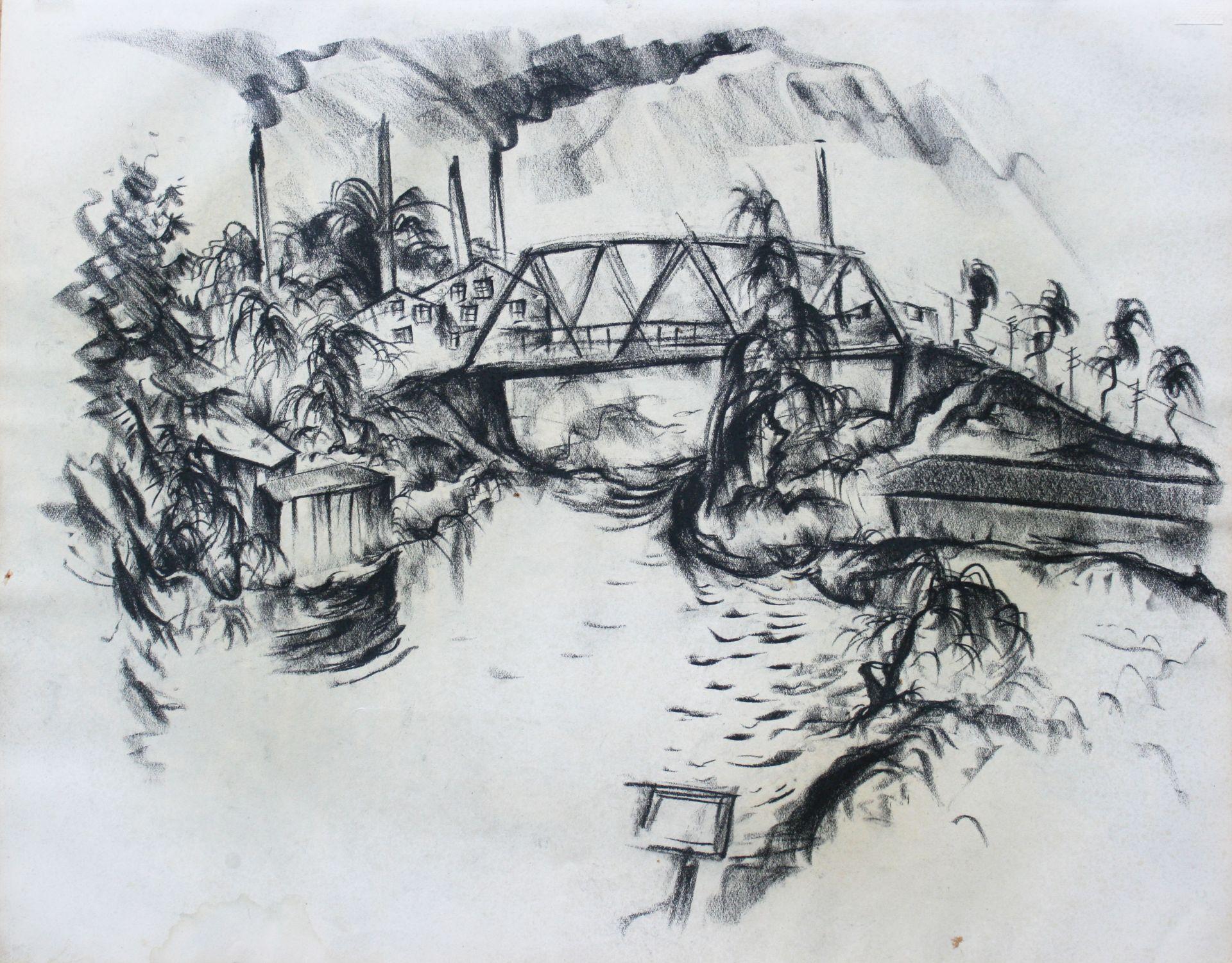 Paul Kuhfuss-River with Bridge