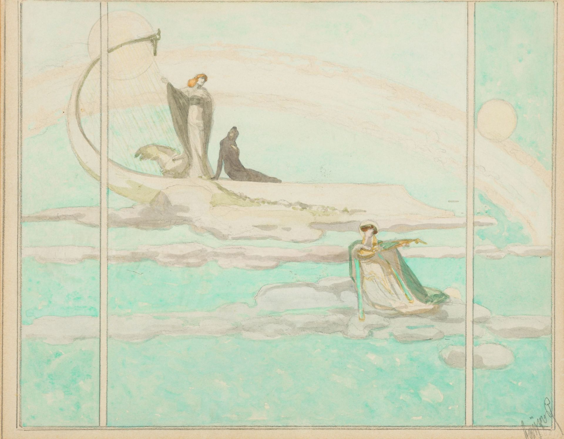Franz von Bayros-Draft for an illustration for Dante's Divine Comedy: Paradise