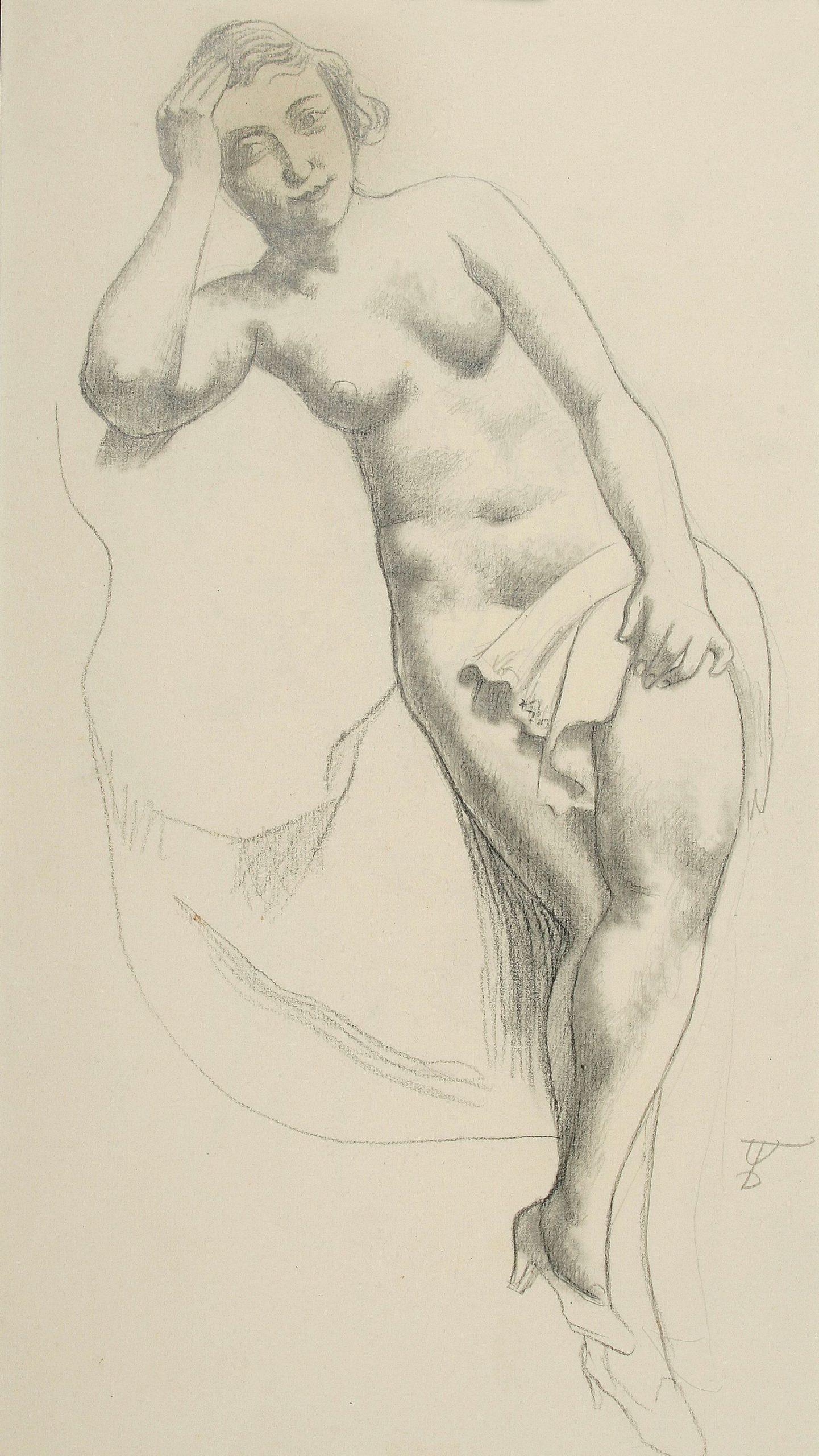 August Wilhelm Dressler-Nude with high heels