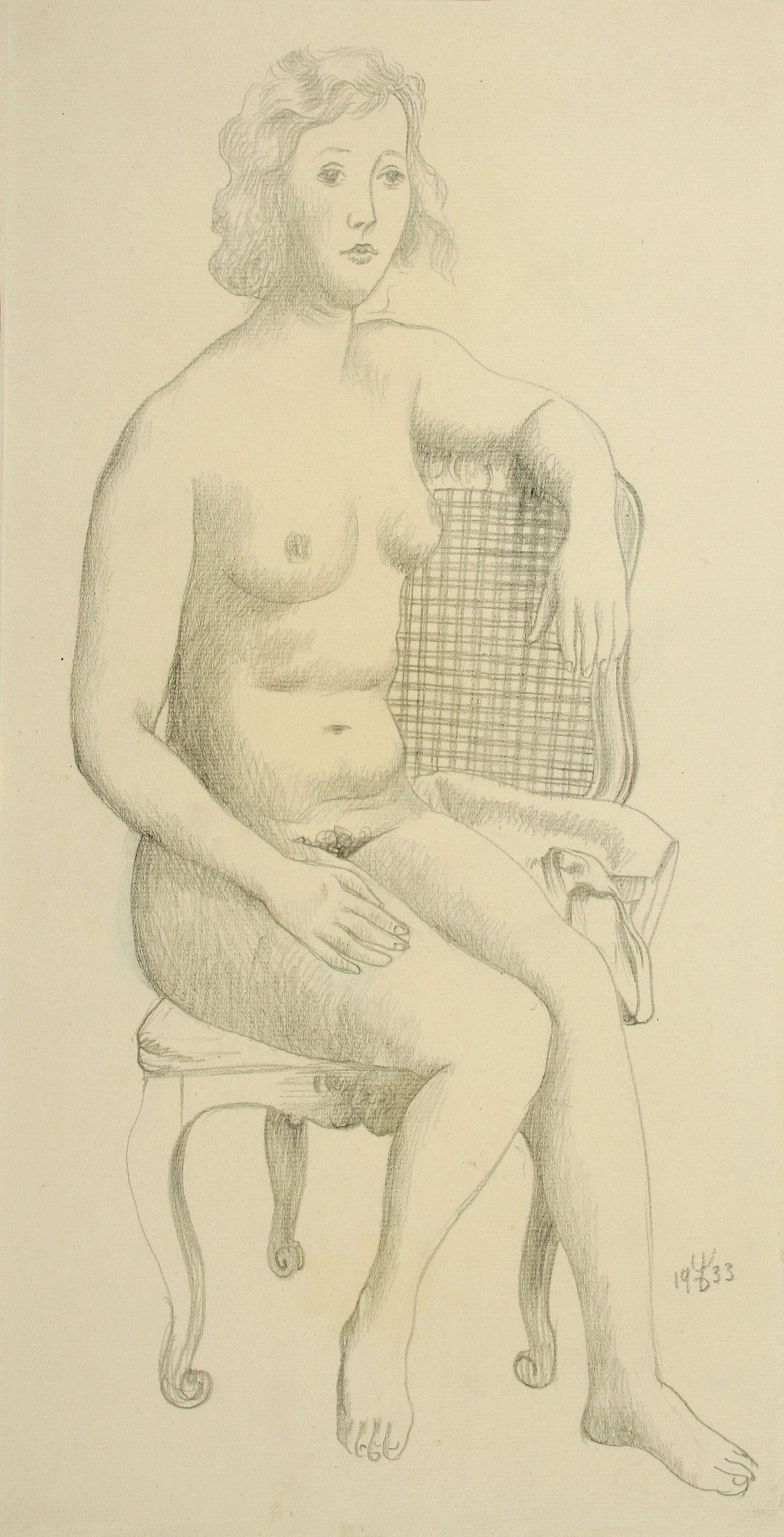 August Wilhelm Dressler-Nude on wicker Armchair