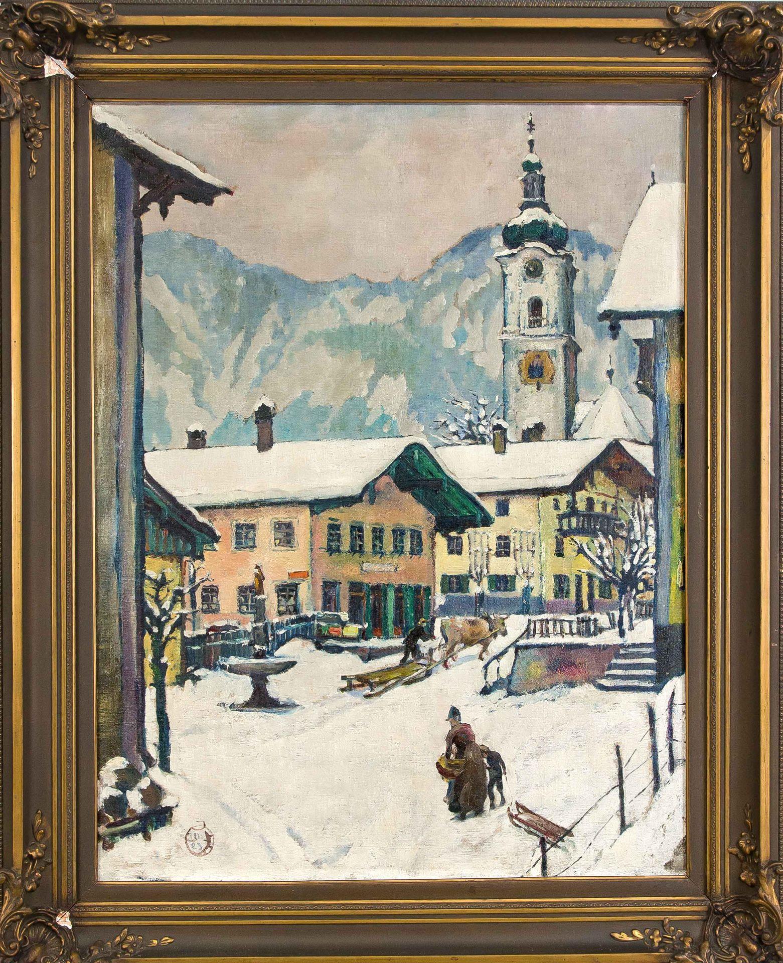 Monogrammist J.O.-Alpine Village in Winter