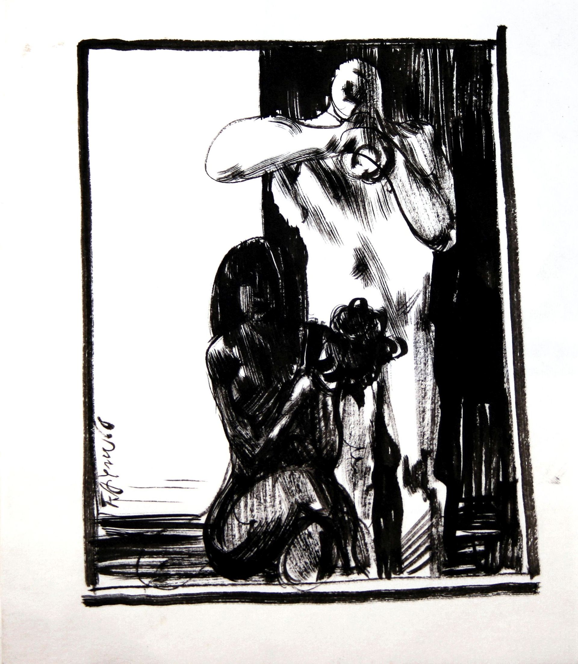 Fritz Aigner-Standing Man and sitting female Nude