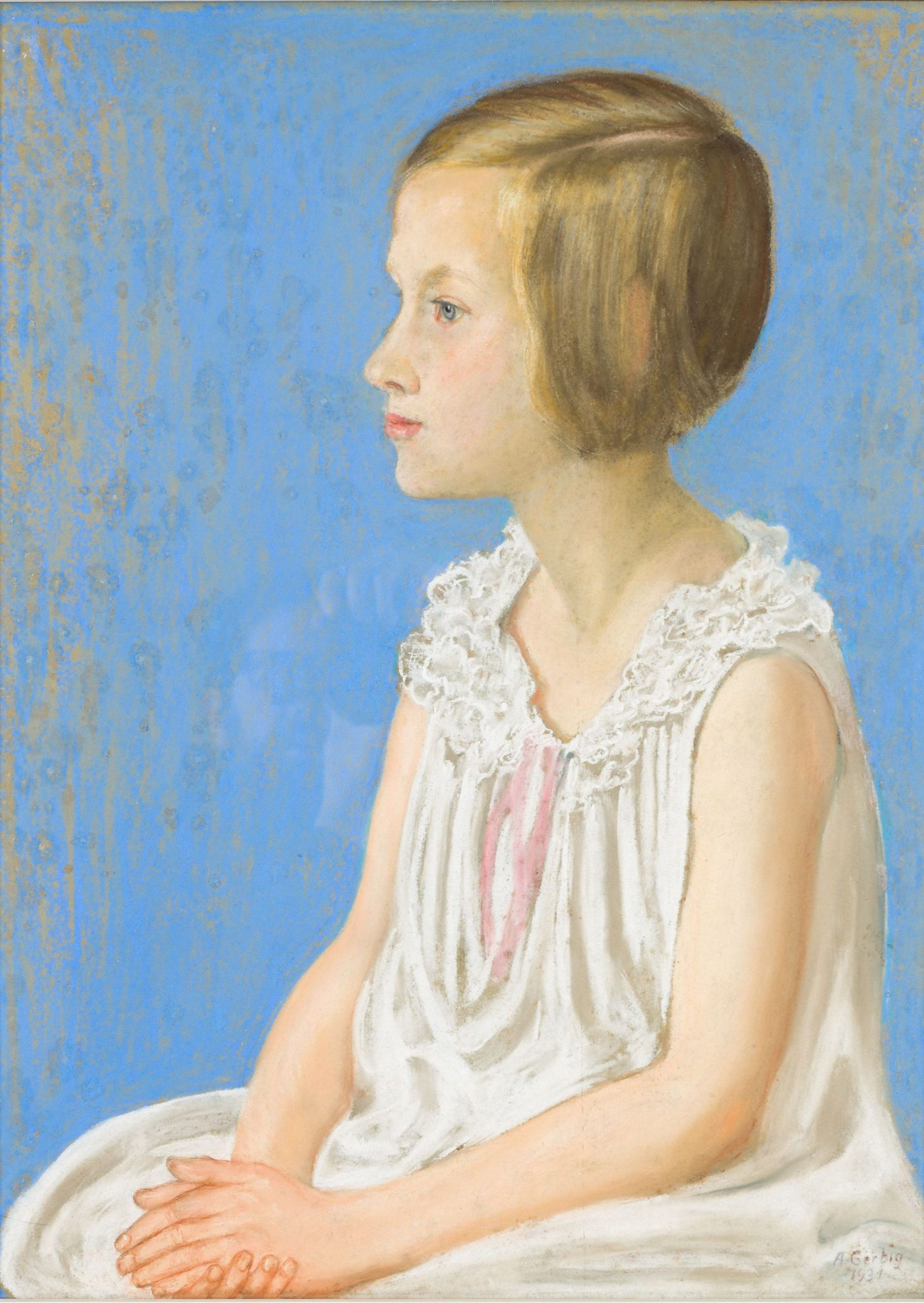 Alexander Gerbig-Sitting Girl in profile to the left