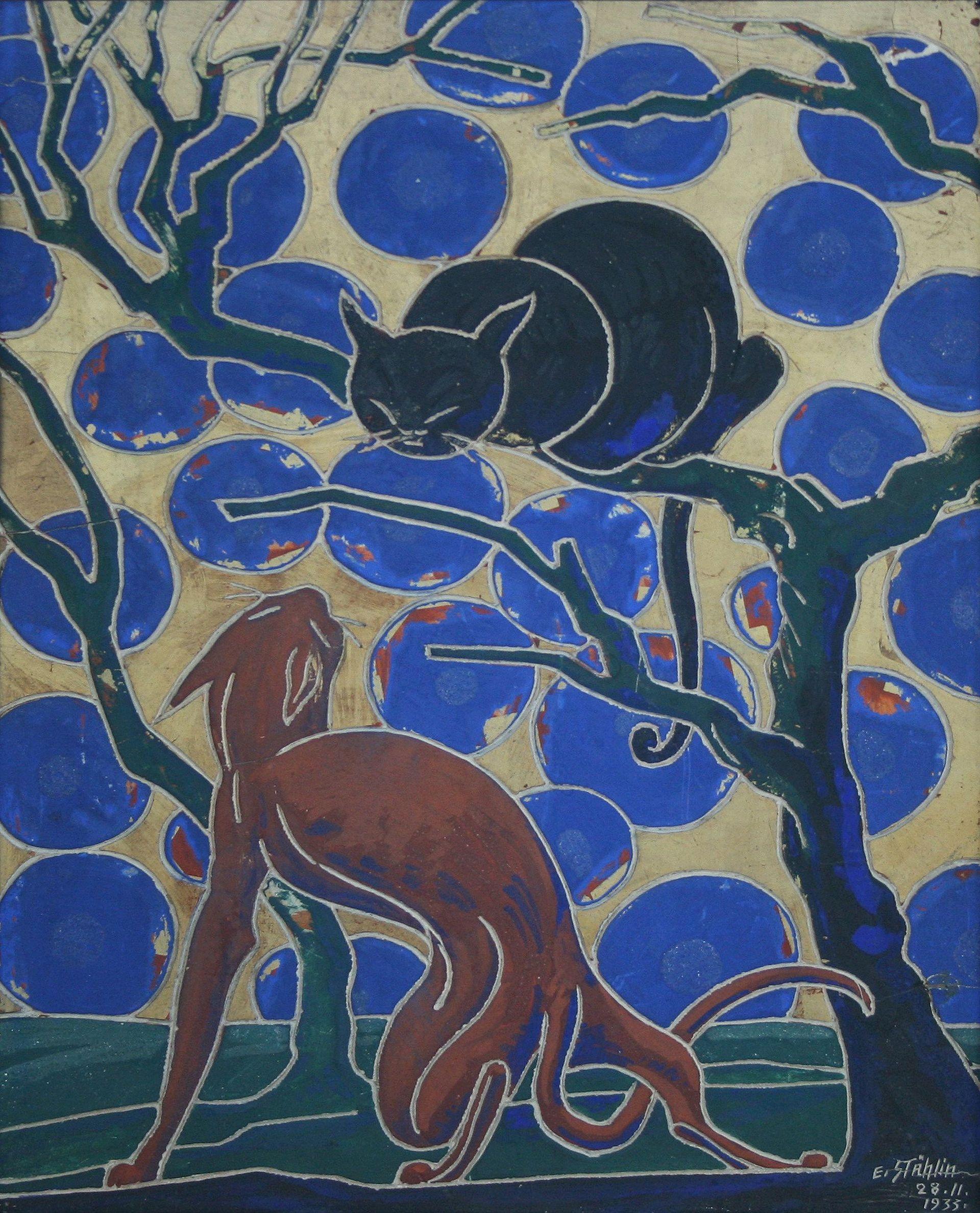 Erwin Stählin-Two cats I.