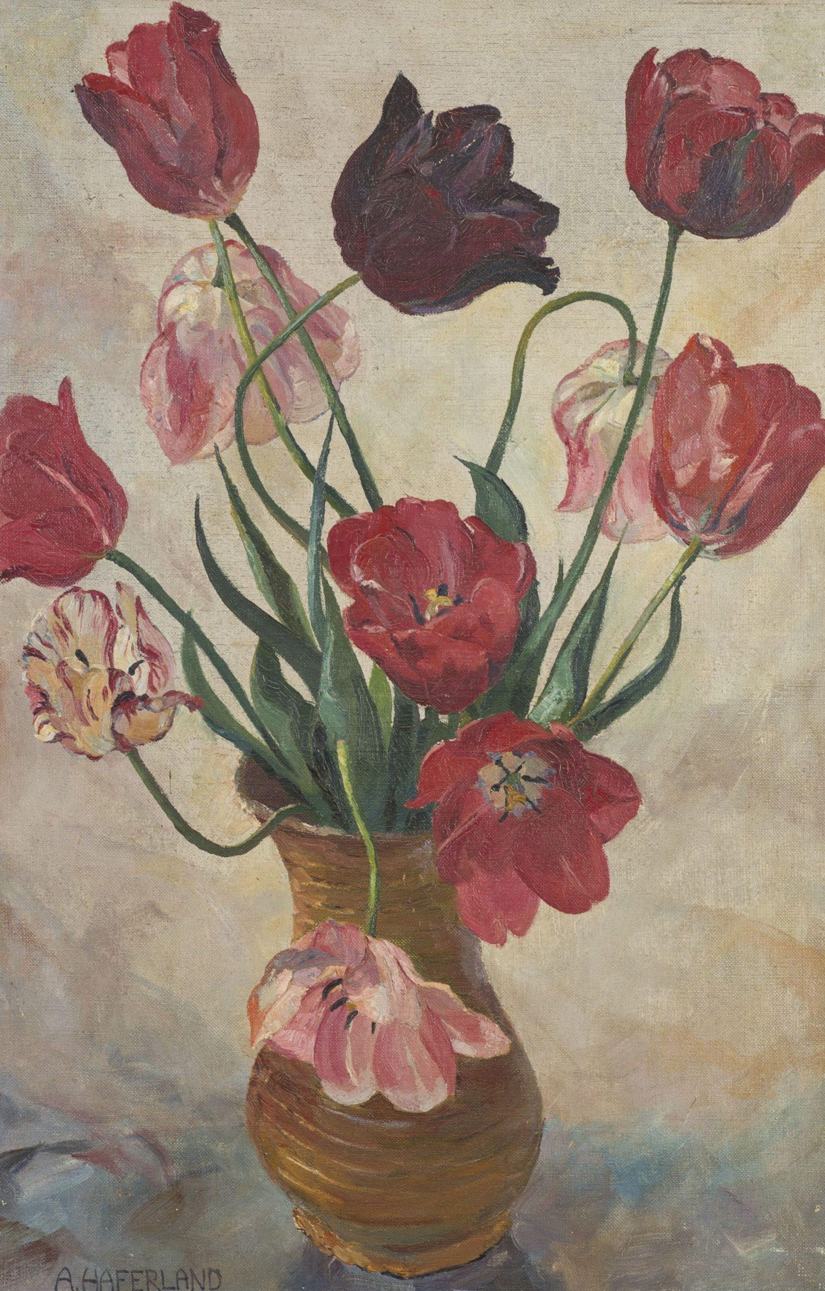 Adolf Haferland-Bouquet of tulips